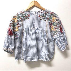 BNWT Zara Floral Crane Embroidery Top w/ Tassels